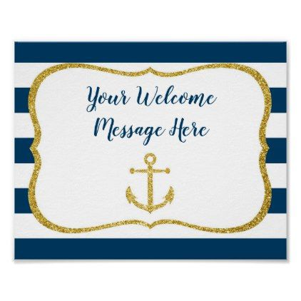 Navy Amp Gold Nautical Bridal Shower Welcome Poster Bridal Shower Gifts Ideas Wedding Bride Nautical Bridal Showers Welcome Poster Bridal Gifts