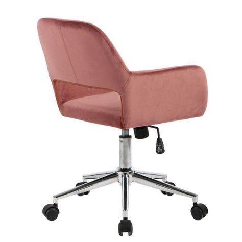 Chaise De Bureau En Velours Rose Calicosy La Redoute Fauteuil