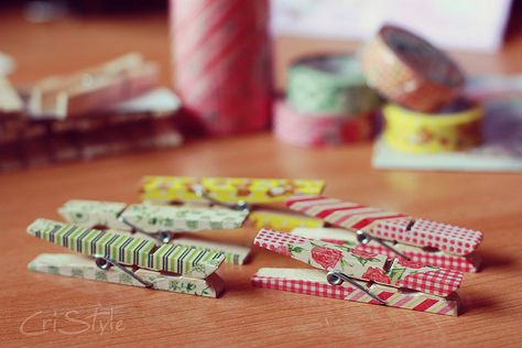 Do it yourself - cute washi tapes ideas - clothespins