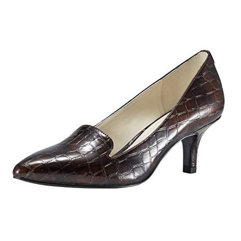 JENN ARDOR Women's Low Kitten Heel Pumps Pointed Toe Slip
