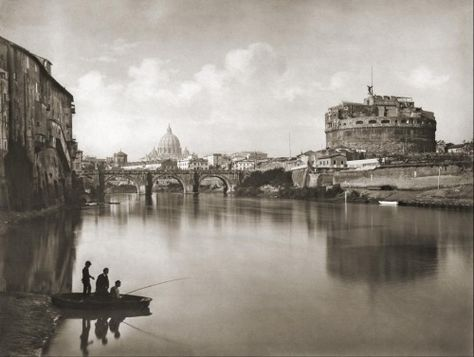 Rome, Italy, ca.1880. View of the Tiber, with Castle St. Angelo and Fisherman. #TuscanyAgriturismoGiratola