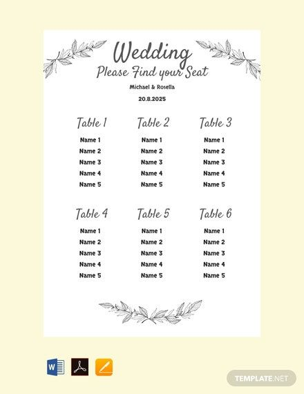 Instantly Download Free Printable Wedding Seating Chart Template Sample E Seating Chart Wedding Template Seating Chart Wedding Wedding Seating Plan Template