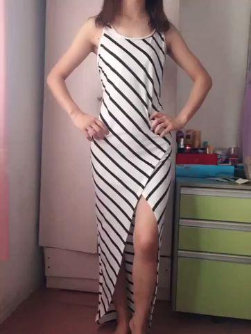 Women's Summer Sleeveless Striped Maxi Dress Casual Split Long Tank Dress