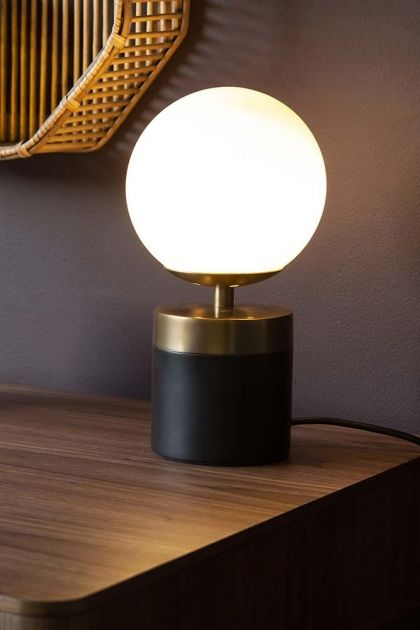 Lifestyle Image Of The Atlas Globe Table Lamp With Black Brass Base Switched On Small Bedside Table Lamps Table Lamps Uk Table Lamp
