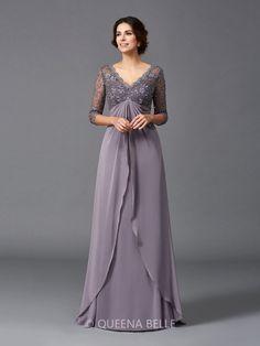 37b54839e Trapézio/Princesa Decote em V Luva de Comprimento de 3/4 Renda Até ao chão  De chiffon Vestidos Mãe da Noiva