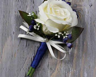 groomsmen boutonniere brooch boutonnier navy blue brooch boutonniere