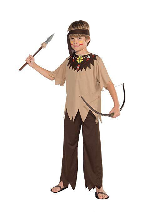 Large 12-14 Multicolor Fun World Native American Boy Costume