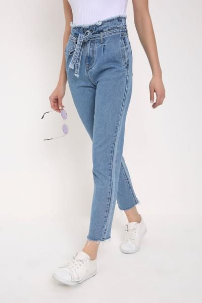 good quality hot sale online factory price Blue high waisted frayed paper bag mom jeans in 2019   Mom ...