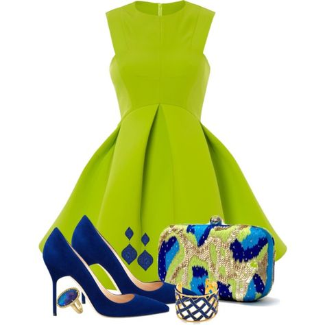 Love this color combo! A fashion look from May 2014 featuring mini skater dress, pointy toe pumps and green clutches. Browse and shop related looks.