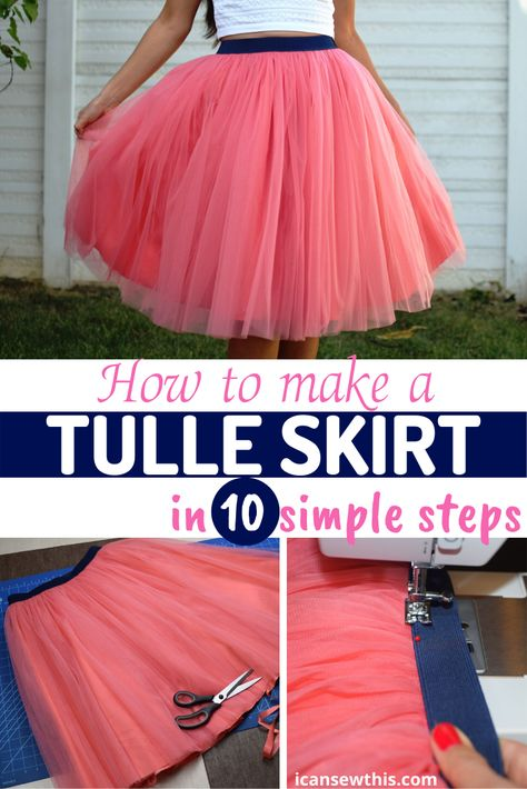 How to make a tulle skirt in 10 simple steps <br> Tulle Skirt Kids, Tutu En Tulle, Diy Tutu Skirt, Tulle Skirt Tutorial, Diy Dress, Tulle Fabric, Tulle Skirts, Adult Tulle Skirt Diy, Pink Tulle Skirt