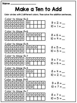 Make A Ten To Add Worksheets First Grade Math Worksheets Kids Math Worksheets First Grade Math
