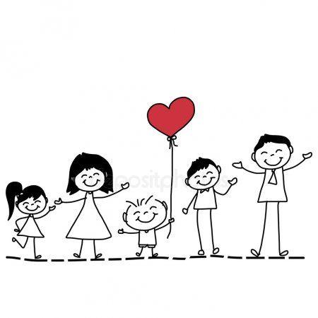 Main Dessin Dessin Anime D Une Famille Heureuse Avec Coeur Rouge