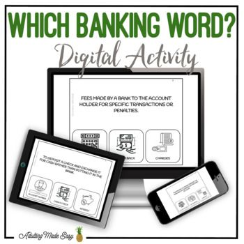 Which Banking Word Digital Interactive Activity Digital Interactive Activity Interactive Activities Vocabulary Task Cards