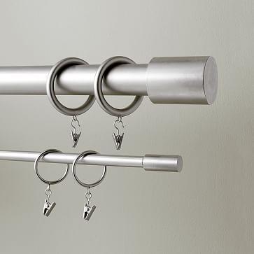 Round Metal Curtain Rings Set Of 7 Brushed Nickel Metal
