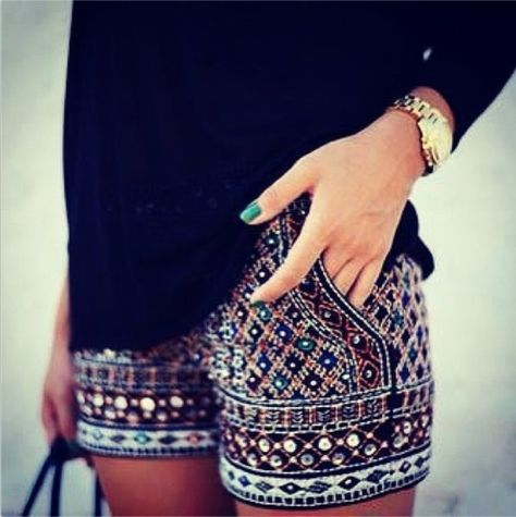 Shorts: black, red, strass, pants, glitter, glitter short, black green mozaïek, dress - Wheretoget