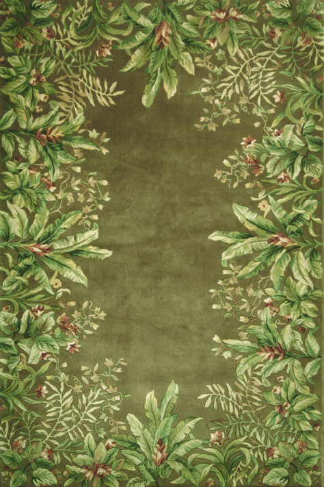 """Kas Oriental Rugs Emerald 9000 Taupe Tropical Border Taupe 2' 6"""" 4' 6"""" Area Rug"""