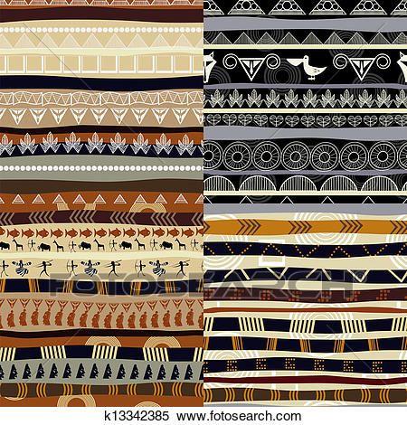 Satz Von Stammes Primitiv Afrikanisch Muster Clipart