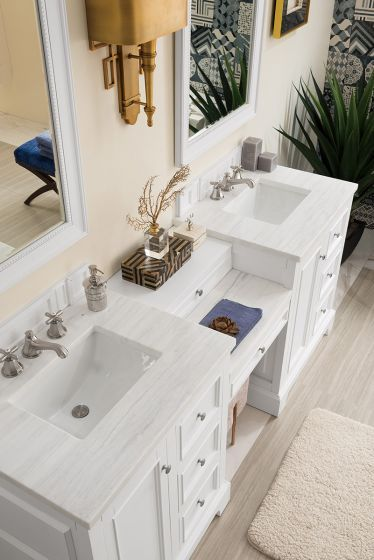 82 De Soto Double Vanity Set With Makeup Table Bright White