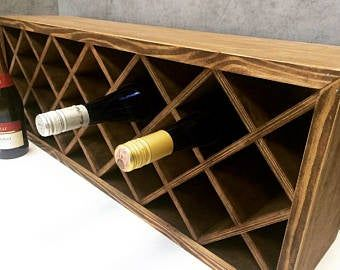 15 Distressed Square 12 Bottle Wood Wine Rack Espresso Counter