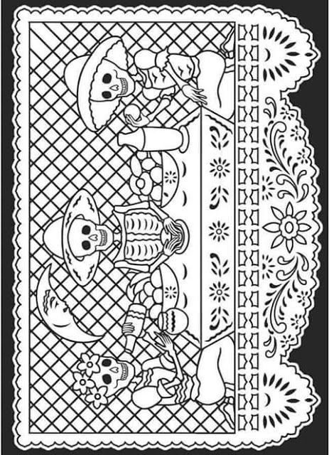 Tu Tarea Papel Picado Para Colorear Dibujo Dia De Muertos Paginas Para Colorear Libro De Colores