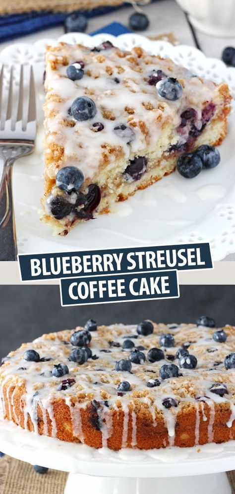 This Blueberry Streusel Coffee Cake is the perfect breakfast or snack! It's wonderfully moist and rich with cinnamon and fresh blueberries! Blueberry Cake, Blueberry Recipes, Healthy Blueberry Desserts, Baking Recipes, Cake Recipes, Dessert Recipes, Frosting Recipes, Food Cakes, Cupcake Cakes