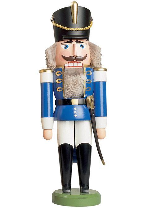 German nutcracker hussar blue, height 37 cm / 15 inch, original Erzgebirge by Seiffener Volkskunst