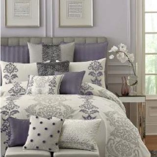 Purple And Grey Bedroom   By Keeping The Walls A Neutral Grey You Can Add  Colour And Pattern In The Bed Linen And Accessory Throw Cushions.