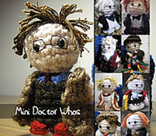 Dr Who - Doctors 1-11! by Nyss Parkes (These mini Doctors do come in one single download, but they simply must be represented individually!) Free Pattern: http://www.ravelry.com/download/146980/free  #TheCrochetLounge #DrWho Collection