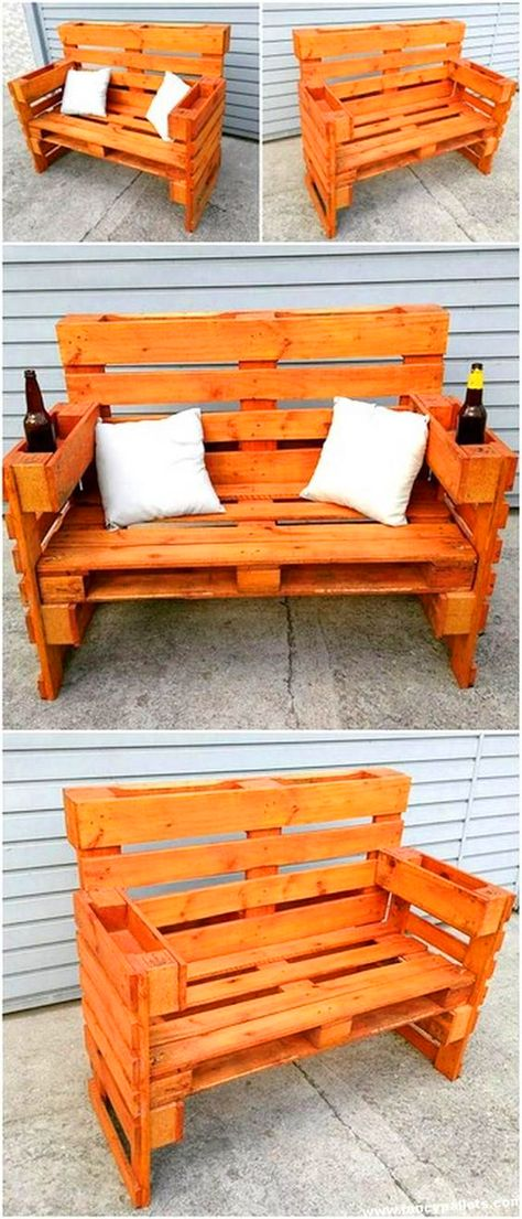 tahta bank 40 Spectacular Diy Projects Pallet Sofa Design Ideas For You, Pallet Garden Furniture, Diy Pallet Sofa, Outdoor Furniture Plans, Diy Furniture, Garden Pallet, Pallet Benches, Rustic Furniture, Pallet Headboards, Pallet Tables