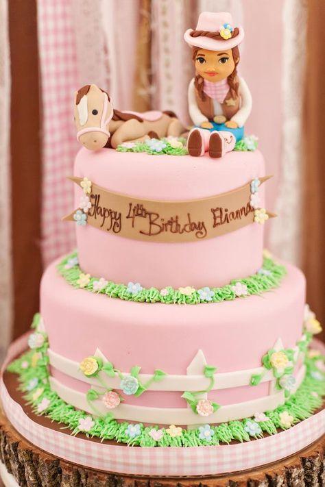Stupendous Shabby Chic Cowgirl Birthday Party Cowgirl Birthday Cakes Personalised Birthday Cards Bromeletsinfo