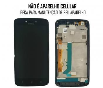 Display Frontal Moto C Plus Xt1726 Preto Com Aro Original