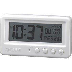 即納 リズム時計 バスクロック 防水防塵 アクアプルーフ デジタル タイマー付き ホワイト 8rda72sr03 代引不可 置時計 置き時計 デジタル時計