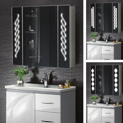 Details About Bathroom Led Light Up Mirror Cabinet Wall Clock Socket Sensor Bluetooth Demister Mirror Cabinets Mirror Led Mirror