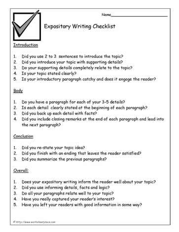 Expository-Writing-Checklist Writing Ideas Pinterest - self assessment essay