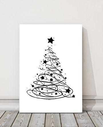 Christmas Tree Art Home And Living Wall Decor Art by BAMdesignshop