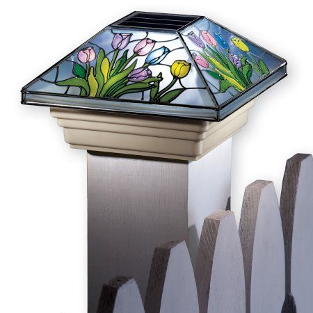 Collections Etc Spring Solar Fence Post Cap Light With Beautiful Colorful Flowers And Hummingbirds Flower Walmart Com Solar Post Lights Fence Post Caps Post Cap