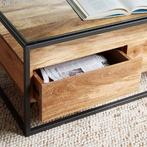 West Elm Industrial Storage Box Frame Coffee Table In 2020 Coffee Table With Storage Box Frames Side Coffee Table