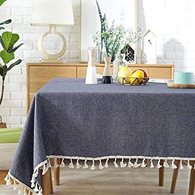 Amazon Com Colorbird Solid Color Tassel Tablecloth Cotton Linen Dust Proof Table Cover For Kitchen Dinning Tabl Table Top Decor Table Cloth Dinning Room Decor