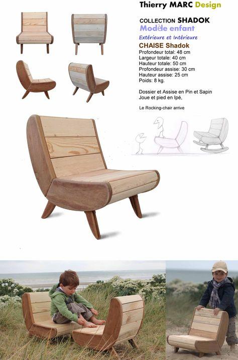 chaise enfant design thierry marc bois recyclé vintage   diy ...