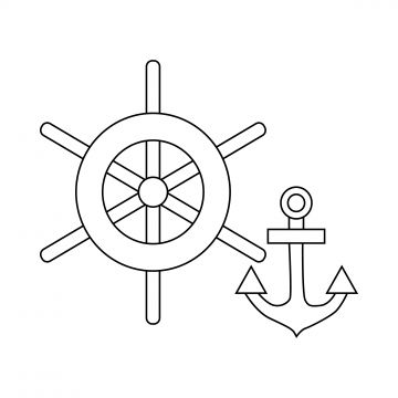 Ship Wheel And Anchor Icon Outline Style Style Icons Ship Icons Anchor Icons Png And Vector With Transparent Background For Free Download Anchor Icon Sailboat Yacht Icon