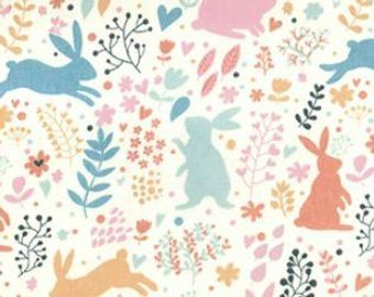 Animal Childrens Yellow Fabric Rabbits Easter Pink Pastel Bunnies Poly Cotton