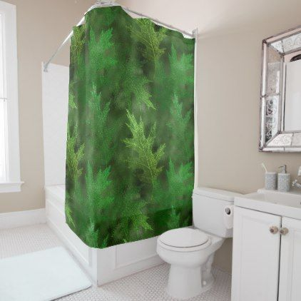 Autumn Winter Fall Leaves Green Shimmer Leaf Shower Curtain Zazzle Com Ocean Shower Curtain Colorful Shower Curtain Garden Shower