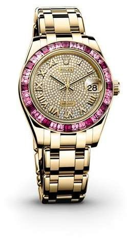 Rolex Datejust Pearlmaster Diamond Pave Dial 18kt Yellow Gold Ladies Watch Rolex Datejust Rolex Womens Watches