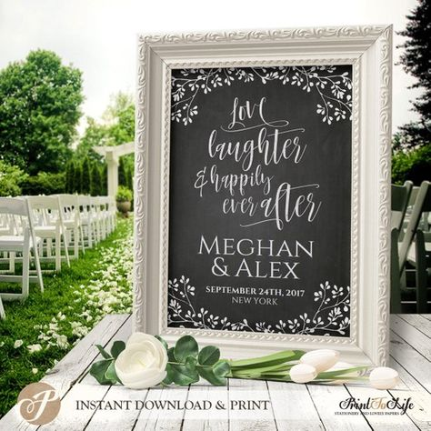 Welcome Wedding Sign / Love Laughter and Happily Ever After / Printable Chalkboard Sign / Editable P