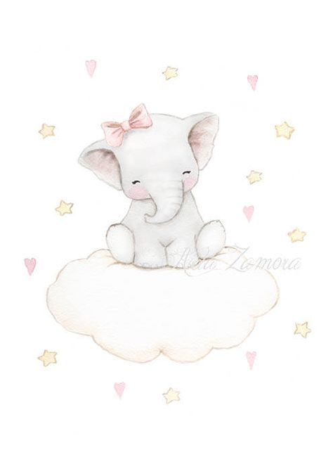 Nursery Art ELEPHANT CLOUD Art Print, pink Illustration. Little elephant fo girls. Its a reproduction of my original illustration printed with detailed on special watercolor paper 300 g. honed natural white, acid-free and 100% cellulose, gives appearance of original painting Watermark will not appear on purchased print. VERTICAL print. All print is hand signed by me. Prints comes wrapped in tissue paper and shipped in a resistant mailing tube. Each monitor or screen is different, the act...