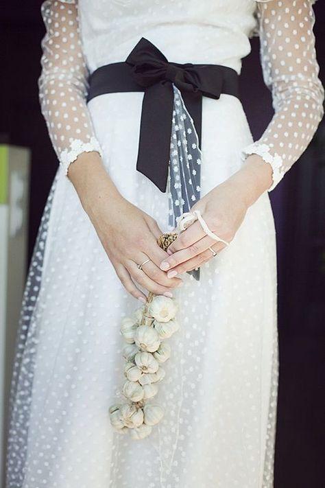 long sleeved swiss dot wedding dress