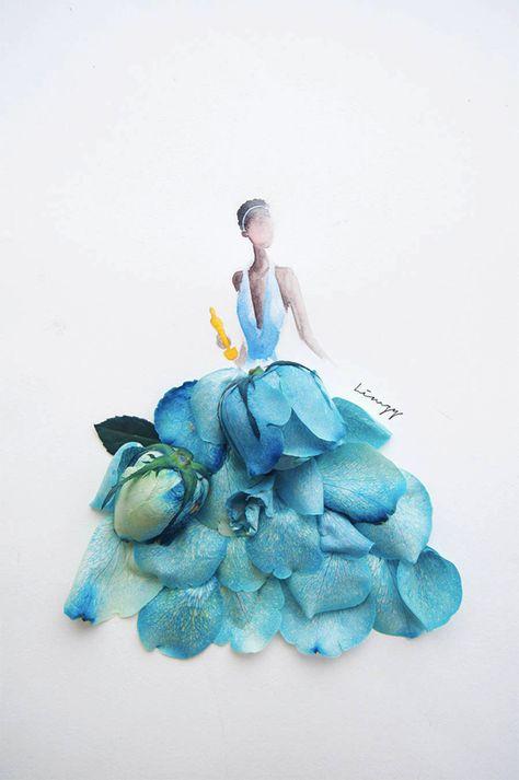 これ着たい!花びらで描かれた素敵なドレスのスケッチ22枚