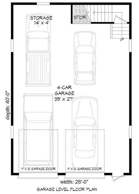 Plan 68466vr 4 Car Tandem Garage With Man Cave Above Garage