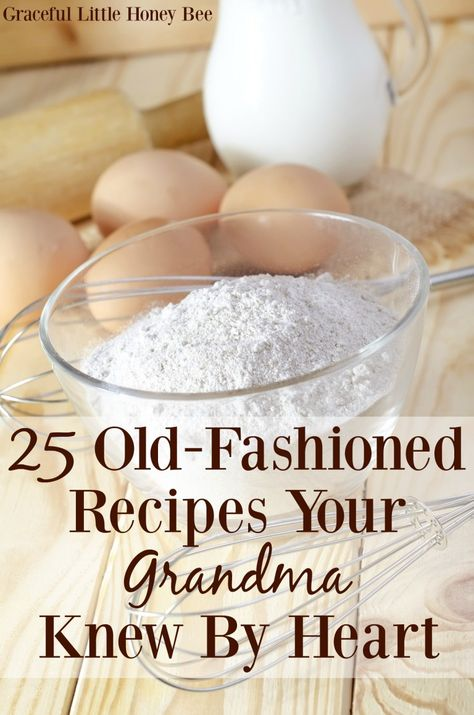 25 Old-Fashioned Recipes Your Grandma Knew by Heart Including Biscuits, Pie Crust, Fried Apples And More On GracefulLittleHoneyBee. Retro Recipes, Old Recipes, Vintage Recipes, Great Recipes, Favorite Recipes, Recipies, Easy Recipes, Indian Recipes, Indonesian Recipes