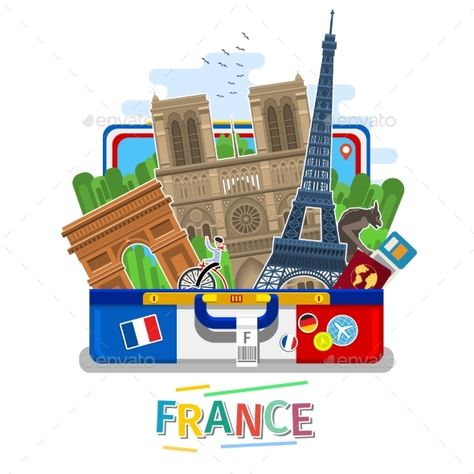 Concept Of Travel To France Or Studying French French Flag With Landmarks In Open Suitcase Tourism In France Flat Study French French Landmarks Travel Logo
